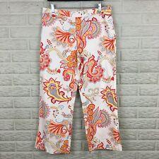 Tommy Hilfiger Womens Vintage Cropped Pants 10 Capri White Paisley Floral Soft