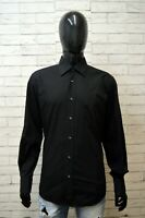 Camicia Nera Uomo HUGO BOSS Taglia 42 Collo 16 1/2 Maglia Camicetta Shirt Man