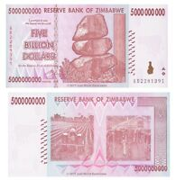 Zimbabwe 5 Billion Dollars 2008 P-84 Prefix 'AA' or 'AB' Banknotes UNC
