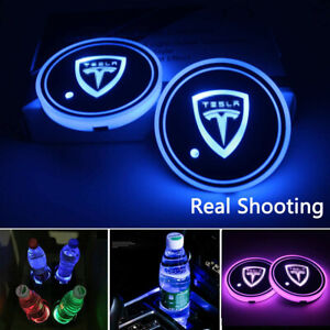 2PCS LED Car Cup Holder Light Pad Switchable 7 Colors Changing Coaster for Tesla
