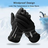 Men Women Touch Screen Ski Gloves Zipper Thermal Winter Snow Warm Mittens -10℉