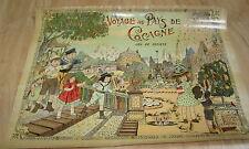 Old c.1900 Antique French  Game PRINT - Voyage au pays de Cocagne - BOX COVER