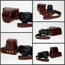 coffee /dark brown camera leather case bag for Olympus PEN E-P5 17mm or 14-42mm