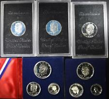 LOT; 2 - 1976-S 3pc SILVER PROOF SETS & 3 - 1971S SILVER PROOF IKES i... Lot 223