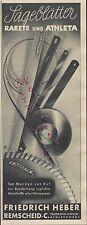 Remscheid, publicidad 1939, Friedrich elevador hojas de sierra cohete Athleta