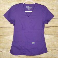 Greys Anatomy Scrub Top Womens XS 3 Pocket Mock Wrap Purple Nursing Medical