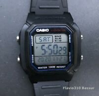 Classic CASIO W-800H-1A (3240) 100M H2O Dual Time Black Resin 38mm watch