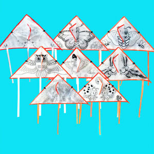 1Pc DIY Cartoon painting kite foldable outdoor kite children kids sport t^lk