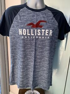 MENS NEW AUTHENTIC HOLLISTER T-SHIRT BLUE EMBROIDERY BY ABERCROMBIE A&F S M L X