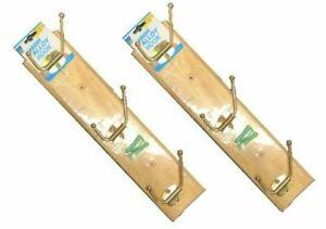 2 x STRONG WOODEN WALL COAT HANGER 3 HOOK Hangers Pegs Clothes Pine Wood Rack UK