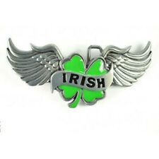 Wings Metal Belt Buckle Lucky Bg63 new Irish Clover Leaf With