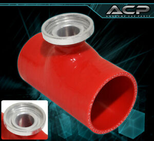 """JDM Performance 2.5"""" Silicone Hose Blow Off Valve SQV SSQV Flange Red For Ford"""