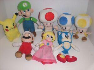 Lot Of 8 Nintendo Super Mario Bros Plush Dolls Toad Peach Luigi Pikachu