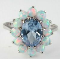 ENGLISH 9K 9CT WHITE GOLD AQUAMARINE OPAL CLUSTER ART DECO INS RING FREE SIZE