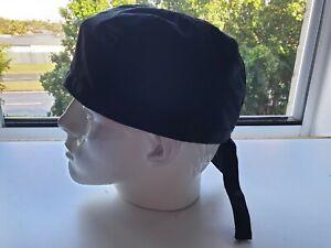 'SOLID BLACK' Durag/Helmet liner. Bandana-Head Wrap, Durag. Chef headwraps T/C