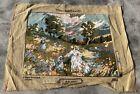 Vintage France / European Tapestry Needlepoint Rug / Mat 1.6 x 1.2 Ft (3962 KBN)