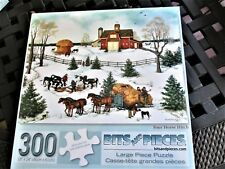 "300 Piece L. Stocks Art PUZZLE ""Four Horse Hitch"" Large Format New 18""x24"""