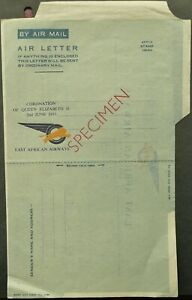 """EAST AFRICAN AIRWAYS """"SPECIMEN"""" AIRMAIL AIR LETTER WITH SPECIAL MESSAGE"""