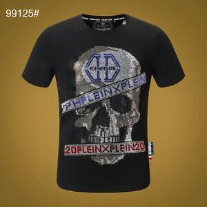PHILIPP PLEIN Black Skull Beading Men Casual T-shirt #P99125 M-3XL