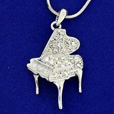 w Swarovski Crystal AB Clear Music Grand Piano Necklace Pendant Chain