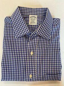 Brooks Brothers Dress Shirt Men's 15.5 - 35 Regent 100% Supima Cotton Blue Check