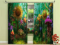 Botanical Monster 3D Curtain Blockout Photo Printing Curtains Drape Fabric
