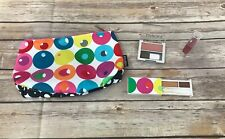 New Clinique Multi Dot Color Abstract Cosmetic Bag with Eyeshadow Lip Blush 4pc
