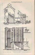 Lithografie 1909: Leuchtgasbereitung II/III. Kammerofen Retortenofen Luftgas Gas