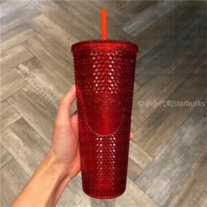 China Starbucks Studded Red Shinning Diamond 24oz Cold Cup Straw Tumbler