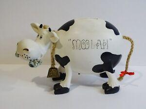 Vtg. MOOLAH the Cow Coin Money Piggy Bank & Real Cow Bell
