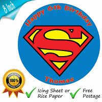 SUPERMAN LOGO BIRTHDAY CAKE EDIBLE ROUND PRINTED CAKE TOPPER DECORATION