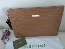 Longchamp Roseau Croco Leather Zip Top Clutch Wristlet Bag Pouch