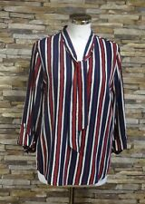 Brandtex Ladies Navy and Red Striped Blouse Tie Neck 3/4 Sleeve Size 18