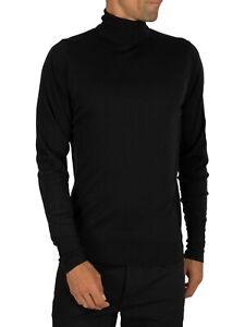 John Smedley Men's Richards Roll Neck Knit, Black