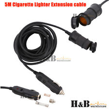 5M Cigarette lighter Extension Socket Plug Adapter Socket Charger Lead W/Cover