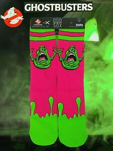 NWT Odd Sox GHOSTBUSTERS Slimer Crew Socks Knits Fits Sizes 6-13 Pink & Green