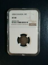1858 Canada Ten Cents NGC XF40 10C SILVER Coin PRICED TO SELL RIGHT NOW!