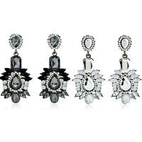 Women Crystal Rhinestone Flower Ear Stud Drop Dangle Earrings Fashion Jewelry