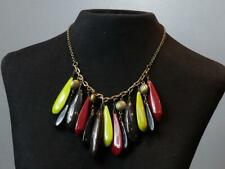 PRETTY - M&S Bronzetone Chain & Oversized Green, Red, Black, Brown Drop NECKLACE