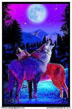 Timberwolves Flocked Blacklight Poster Print - 23x35 Wolves Moon