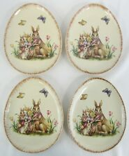 Set of 4 Vintage Snack Plates with Tulips, Rabbits, Butterflies, & Basket Weave