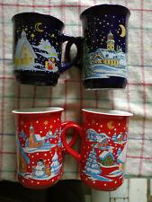 Kaffeebecher Glühwein Tassen weihnachtlich verziert 4 Stk rot/blau