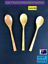 3PCS NEW Natural Bamboo Spoons Cooking Stirring Kitchen Tool 20CM (A43)