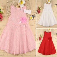 Baby Girls Kids Full Lace Floral One Piece Dress Child Princess Party Dress 1-7Y