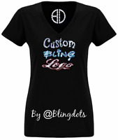 Custom bling T shirt V neck Sequins Glitter Logo Tee No rhinestones sparkly