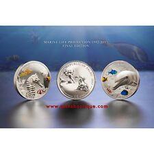 MARINE LIFE PROTECTION-DOLPHIN & SEA HORSE 2 x 2 oz silver coins set Palau 2017