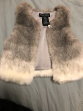 DARLING Cynthia Rowley SOFT Faux Fur Vest CRYSTAL BUTTON Girls 12M EXCELLENT!