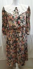 Vtg 80s Womens Blake Elizabeth Dress Petite Sz 8 Floral Lace Collar 3/4 Sleeve