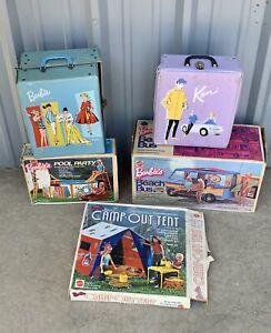 Vintage Lot of Barbie & Ken Doll Case / Beach Bus - Pool Party - Camp O Tel