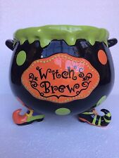 WITCH`S BREW HALLOWEEN CAULDRON DECOR FLORAL ARRANGEMENT CANDY DISH GIFT FEET